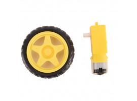 Мотор колесо с редуктором для RC моделей диаметром 65мм напряжением DC 3-6В