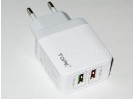 Зарядний пристрій USB TOPK Quick Charge 3.0
